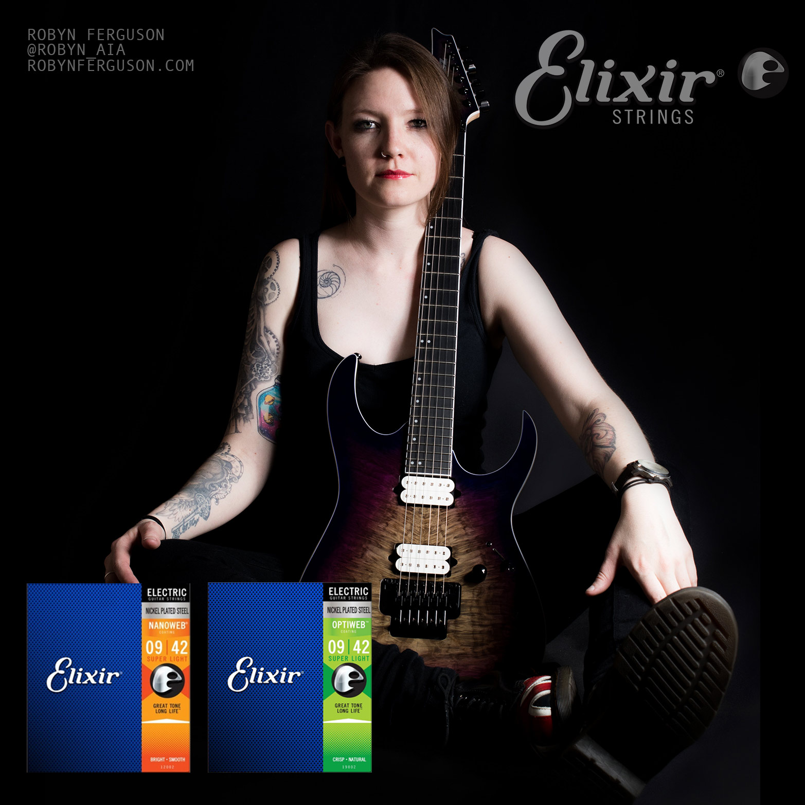 Robyn Ferguson, Guitarist, Vocalist, South Africa, Ibanez guitars, Adorned in Ash, Sistas of Metal, Elixir Strings