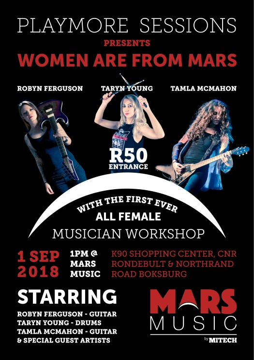 Robyn Ferguson, Elixir Strings, Guitarist, Vocalist, South Africa, Ibanez guitars, Adorned in Ash, Sistas of Metal, Musician, Guitar Clinic, Music workshop