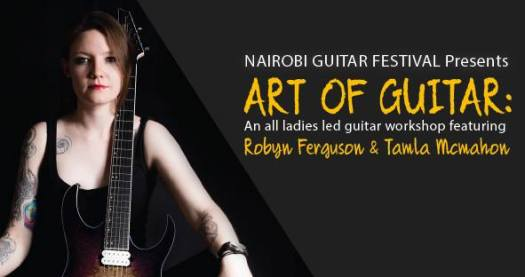 Robyn Ferguson, Elixir Strings, Guitarist, Vocalist, South Africa, Ibanez guitars, Adorned in Ash, Sistas of Metal, Musician, Guitar Clinic, Music workshop, Nairobi, Kenya